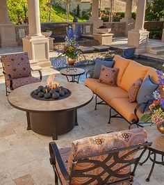 "Santorini 54"" Round Chat-height Fire Pit Table - Frontgate"