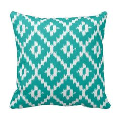 Ikat pattern - Turquoise and white Throw Pillow