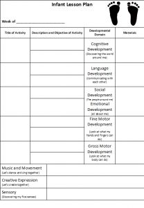Blank Lesson Plan Template | INFANTS - SAMPLE WEEKLY LESSON PLAN ...