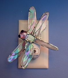 Stained Glass Dragonfly Night Light with Iridescent Wings