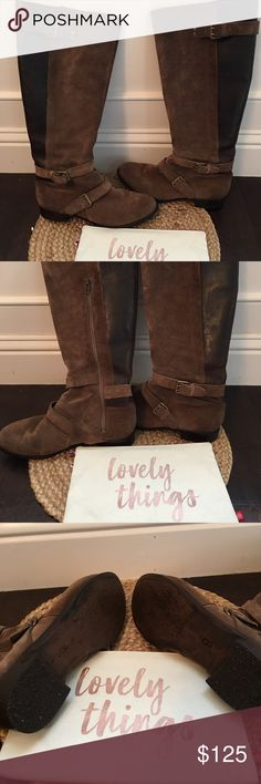 UGG Darcie Brown Equestrian Riding boots size 8 UGG Brown Suede Leather Equestrian Style Boots Size 8. These boots have a lot of life still in them. The leather and suede are distressed and look oh so fashionable. The Heels just have been re soled by a local cobbler. Get these. UGG Shoes