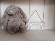 Little girls bedroom plaque. Lilac flowers and clear gemstones. £10.00