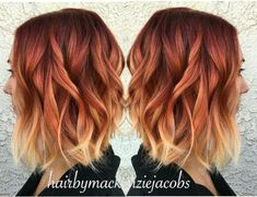 Ginger Hair Color, Hair Color Blue, Ombre Ginger Hair, Hair Colors, Orange Ombre Hair, Red Blonde Ombre Hair, Auburn Ombre Hair, Onbre Hair, Fire Ombre Hair