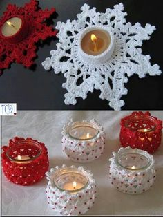"""Best 12 Ravelry: Candle Holder """"Melting Snowflake"""" Tutorial Pattern pattern by Lyubava Crochet. would look great with a battery candle. Crochet Christmas Ornaments, Beaded Ornaments, Christmas Angels, Christmas Tree Decorations, Christmas Crafts, Crochet Ball, Crochet Home, Diy French Knitting, Christmas Tea Light Holder"""
