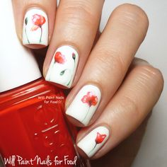 The Digit-al Dozen Does Floral: Day Four, Watercolour Poppiesby Will Paint Nails for Food