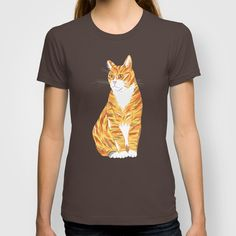 Ginger cat illustrated t-shirt design $22.00