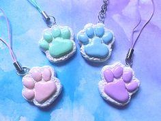 Kawaii pastel goth paw print clay charms