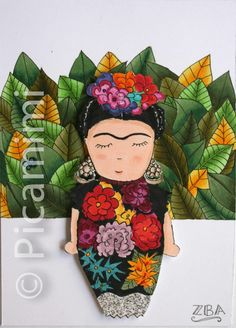 Frida Kahlo... visit www.picamimi.com for more Disney Characters, Fictional Characters, Disney Princess, Drawings, Artwork, Pictures, Icons, Illustrations, Frida Kahlo