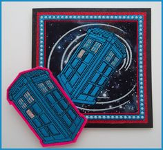 Machine embroidered Dr Who, police box fabric art card with felt brooch/badge, Doctor Who, glow in the dark thread, measures 6in x 6in. by CushionRock on Etsy