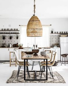 "1,328 Likes, 16 Comments - sam pothier (@stylistguide) on Instagram: ""A little bit of boho in the kitchen is always a welcoming idea. The woven shade, hand made tile and…"""