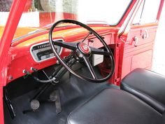 Steering wheel 1953 Ford F100 1953 Ford F100, 1956 Ford Truck, F100 Truck, Chevy Trucks, Panel Truck, Truck Interior, Dashboards, Old Trucks, Muscle Cars