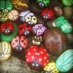 Painted rocks in the garden