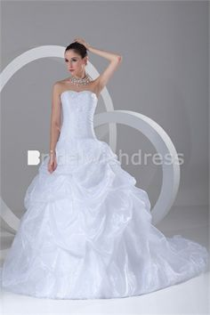 Sweetheart Court Train Satin Organza Corset-back Wedding Dresses