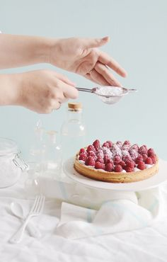coconut cream strawberry tart.