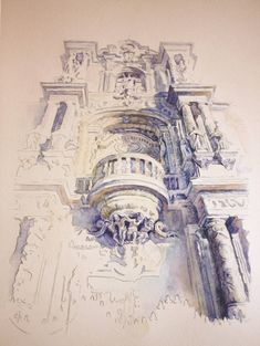 Marvelous Home Design Architectural Drawing Ideas. Spectacular Home Design Architectural Drawing Ideas. Art Et Architecture, Watercolor Architecture, Amazing Architecture, Classical Architecture, Drawing Sketches, Art Drawings, Drawing Ideas, Drawing Drawing, House Drawing