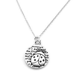 169733b24 Ladybug (Presence quote) Sterling Silver Small Pendant Necklace (Chain  Length Option) ♥