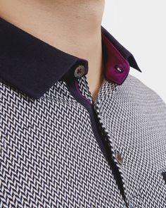Jacquard polo shirt - Navy   Tops & T-shirts   Ted Baker