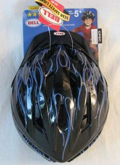Bell Rival Bike Helmet Youth Ages 5+ Blue Flame w/Rear Safety Lights by Rival. $25.00. Rear LED Reflectors. Tapeless Technoligy. Base Guard. Visor and Bench Guard. 17 Vents / True Fit. True Fit Eliminates straps and hardware adjustments that are ofton confusing. Truefit is designed to fit properly every time with just one simple adjustment.. Save 17% Off!