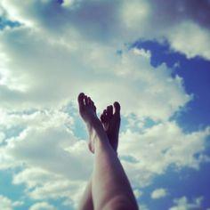 Blue sky happy foot