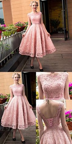 pink lace homecoming dresses,simple knee length prom dress,lace up back party dress,semi formal dresses for teens Semi Formal Dresses For Teens, Simple Homecoming Dresses, Prom Party Dresses, Simple Dresses, Pretty Dresses, Casual Dresses, Graduation Dresses, Elegant Dresses, A Line Cocktail Dress