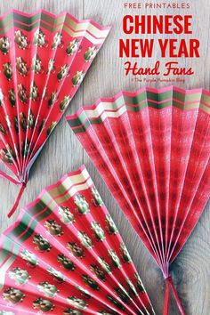 These free printable Chinese New Year paper hand fans are easy to make, and are a fun party favor or table decoration for your Chinese New Year celebrations! #ChineseNewYear #LunarNewYear #ThePurplePumpkinBlog #ChineseNewYearCrafts #PaperCrafts #PaperHandFans #LunarNewYearCrafts #FreePrintables #ChineseNewYearPrintables #LunarNewYearPritnables