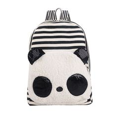 Coofit Korean Canvas Black and White Stripe Panda Plush Backpack with Sequins Ears