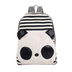 Coofit Korean Canvas Black and White Stripe Panda Plush Backpack with Sequins Ears Big Panda, Panda Love, Cute Panda, Baby Panda Bears, Baby Pandas, Polar Bears, Panda Lindo, Backpack For Teens, Cute Plush