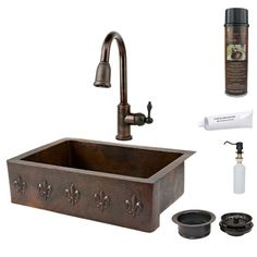 33-Inch Hammered Copper Fleur De Lis Apron Single Bowl Kitchen Sink with Pull Down Faucet
