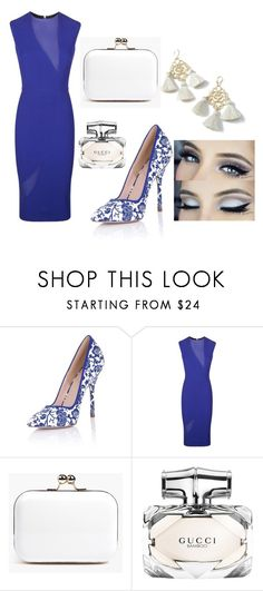 """""""Blue dress"""" by olia7805 on Polyvore featuring Paper Dolls, Victoria Beckham, Boohoo, Marte Frisnes and Gucci"""