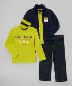 Take a look at this Peacoat & Yellow Zip-Up Jacket Set - Toddler & Boys by Nautica on #zulily today!