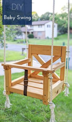 Projects For Kids, Diy For Kids, Diy Projects, House Projects, Wooden Baby Swing, Backyard Swings, Outdoor Swings, Patio Decks, Backyard Playground