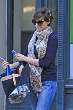 Anne Hathaway wore a floral scarf in Brooklyn.