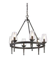 Golden Lighting 1208-6-DNI Marcellis 6 Light 26 inch Dark Natural Iron Chandelier Ceiling Light #LightingNewYork