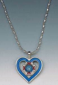 New design - Ladies Auxiliary blue cut-out heart necklace. $9.95 at the VFW Store.