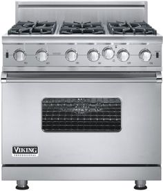 Viking VGIC53616B 36 Inch Pro-Style Gas Range with 6 Open Burners, 5.1 cu. ft. Convection Oven, Infrared Broiler, VariSimmer Setting, SureSpark Ignition System and 3 Heavy Duty Racks