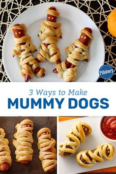 Ways to Make Mummy Dogs These kid-friendly mummy dogs are the perfect way to celebrate Halloween with the whole family this year.These kid-friendly mummy dogs are the perfect way to celebrate Halloween with the whole family this year. Plat Halloween, Halloween Party Treats, Hallowen Food, Halloween Appetizers, Halloween Dinner, Halloween Desserts, Halloween Food For Party, Halloween Decorations, Halloween Costumes