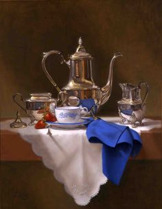 W.O. Ewing, Coffee Break, 2002, oil on board, 27 1/2 x 21 1/2 inches