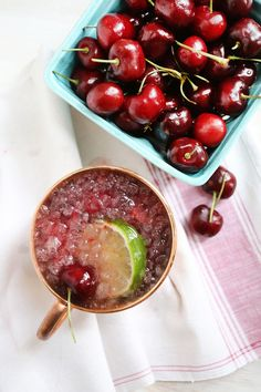 Smashed Cherry Mule recipe: 1 serving:   2 ounces Vodka, 4 fresh cherries, ginger beer, lime,  *** In the bottom of your cup, muddle four cherries (cut in half, seeds removed) with the juice of half a lime. Add vodka, ice and top with ginger beer. Garnish with a lime slice and a fresh cherry.