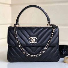 Chanel Chevron Small Trendy CC Flap Bag With Top Handle Black Hardware) Chanel Tote, Coco Chanel, Vintage Chanel Bag, Burberry Handbags, Chanel Handbags, Leather Handbags, Celine Bag, Cloth Bags, Designer Handbags