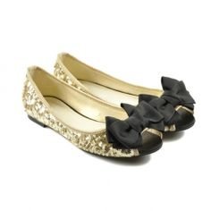 Casual Women's Flat Shoes With Bowknot and Sequin Design- OMG I NEED!