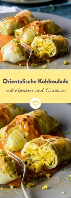Oriental cabbage rolls with tomato sauce- Orientalische Kohlrouladen mit Tomatensauce Not only vegetarian, but also exotic: stuffed cabbage with a filling of couscous, cashews and apricots in tomato sauce. Vegetarian Recipes Easy, Veggie Recipes, Snack Recipes, Healthy Recipes, Healthy Soup, Detox Recipes, Go Veggie, Sauce Tomate, Vegetarian