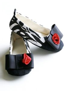 Childrens Shoes - Toddler Couture Ballet Slipper Baby Shoe - Zebra Stripe Black and White & Red Rose Buds - Baby Souls Baby Shoes   $34.00