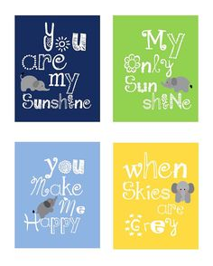 Elephant Art You are my sunshine Yellow Green by LittlePergola, $55.00 (H2 + H3's room)