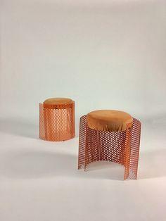 Pair Orange Metal Stools, Stool Chairs, Sitting Stool, Short Stools, Industrial Stools, Modern Stools, Mid Century Stool, Retro Stools by IfLacquerCouldKill on Etsy
