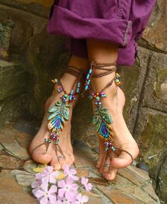 #feet #toes #jewelry #Merpher.L summer #boho #cute #feathers #anklet #foot jewelry #barefoot sandals #fashion #flowers