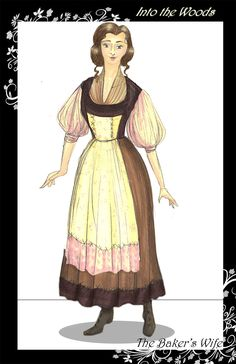 A simple and nice costume for the baker's wife that captures her lower social status and her personality.