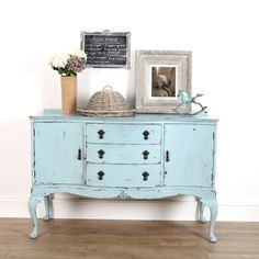 Upcycled furniture from Ruby Rhino. Blue painted sideboard