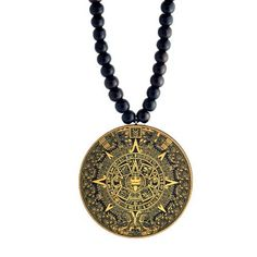 Mayan Calendar Wooden Pendant with Wood Bead Chain SwaggWood Made in USA