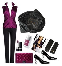 Power of purrrrple by cashmererebeluk on Polyvore featuring Versace, Joseph, Yves Saint Laurent, Chanel, Moschino, Christian Dior, Couture Colour, purple, cat and cashmererebel