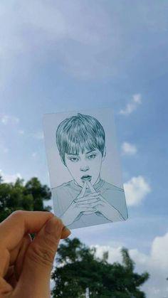 #xiumin Kpop Drawings, Art Drawings, Exo Fan Art, Face Sketch, Exo Xiumin, Bts And Exo, Kpop Fanart, K Idols, Art Inspo
